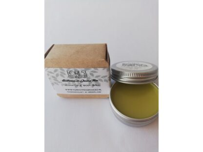 forest fragrances - bath & body - vegan lippenbalsem en body balsem - bosbessen groene thee- doosje
