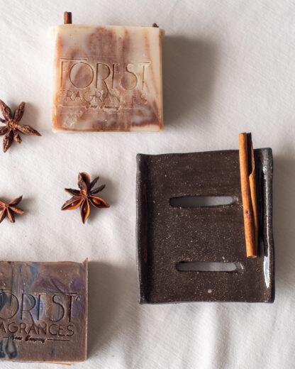 forest fragrances - accessoires - zeepschaaltje - keramiek - rechthoek - bruin