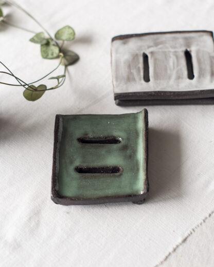 forest fragrances - accessoires - zeepschaaltje - keramiek - rechthoek - groen en grijs